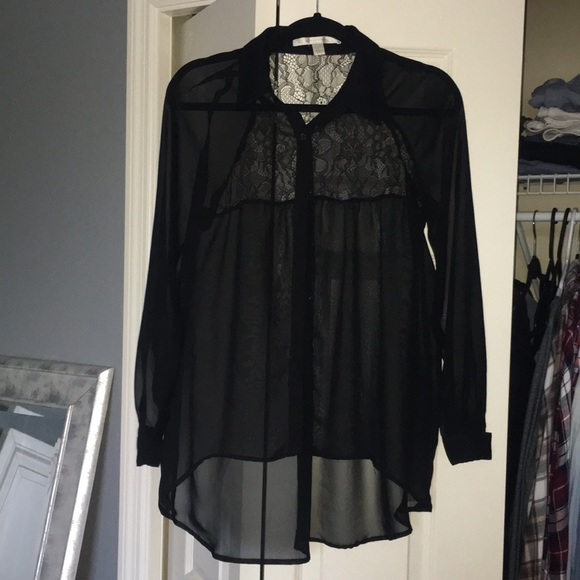 Lc Lauren Conrad Tops Lauren Conrad Sheer Black Button Up Blouse